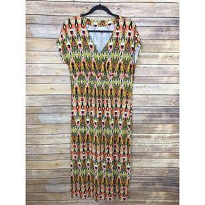 J Jill S V Neck Empire Waist Tribal Maxi Dress B56